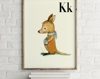 K for Kangaroo - Alphabet art - Alphabet Letters - Baby Zoo Animals - Safari Nursery - Nursery art - Nursery decor - Baby Animals