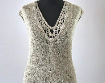 LACE- hand knitting and crochet - Vest tank sweater - in beige