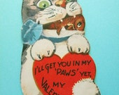 Vintage Valentine's Day Card Weird Creepy Cat with Fish in Mouth