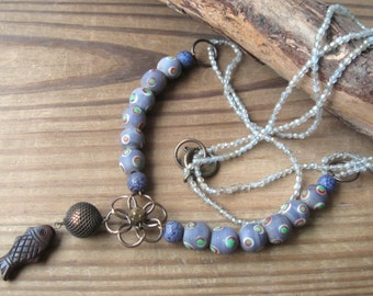 Dark Fish Necklace Moody Boho Purple Gray Brown Tones Glass Beads Oxidized Brass