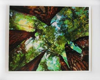 Over my head, 16x20 inches, Original art, Gift Ideas / Gardener & Naturalist, #summer trees #green trees #Michigan art #trees overhead #Art