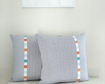 Decorative Pillow - Linen Modern Triptych Mid Century Modern inspired