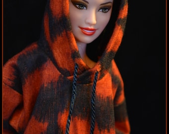 Barbie Hoodie Tiger Print Made to Order Barbie Clothes Fashionista Curvy Barbie Petite Barbie Tall Barbie