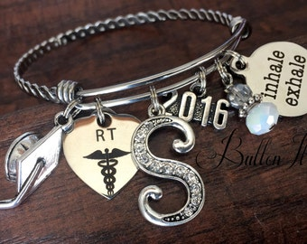 Respiratory Therapy, RESPIRATORY Therapist gifts, 2017, Graduate, Graduation, She Believed she could so she did, RT, Initial charm bracelet