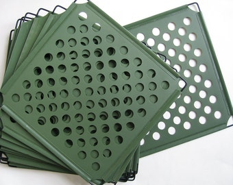 """Perforated Plastic Panels Divider Screen – TOTAL 15 pieces! Green w/Black Metal Frame 14"""" x 14"""" Square. 7/8"""" holes."""