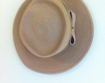 Vintage Oleg Cassini Straw Hat// Peach Striped Ribbon Band// 1960's Fashion
