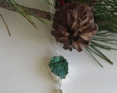"""SALE Green Druzy Necklace Silver Statement 24"""" Long Silver Chain with Tassle Teal Natural Stone ooak Mothers Day Gift Dawn of Creation"""
