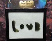 Large MOLDAVITE LOVE Tektite Meteorite Extrarerrestrial Writing Display All Natural Impact Glass From Czech Republic Souvenir LOVE Set