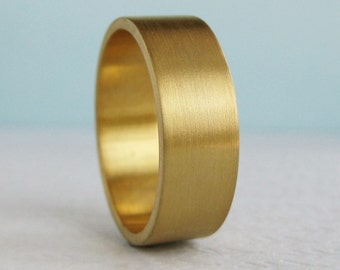 7mm or 8mm Gold Wedding Band | Flat Wedding Band | Eco friendly Recycled Gold | Brushed Finish Wide Wedding Band 10k 14k 18k Gold Ring