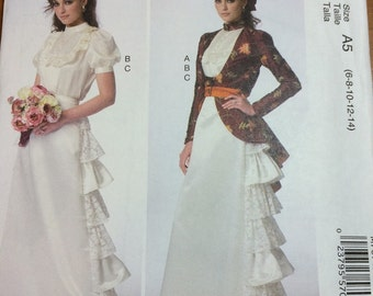 McCalls 7071 Steam Punk Gown Skirt Jacket Sewing Pattern Sizes 6-8-10-12-14 Ruffled Skirt Redingote