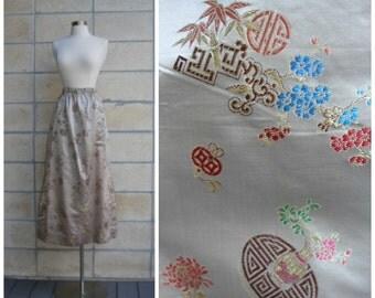 70s maxi skirt, Oriental satin motif, souvenir travel skirt, beautiful Asian print, lovely full length fancy skirt. Size S-M.
