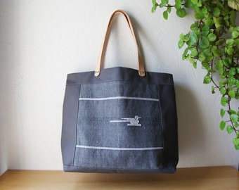 Waxed Canvas Weekender in Slate Blue Gray with Leather Straps
