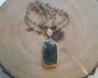 Labradorite Stone Beaded Chain Necklace Labradorite Blue Flash Pendant Long Layer Necklace