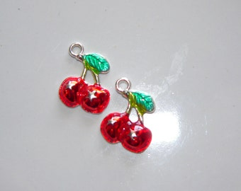 2 Cherry Red Charms, Jewelry Suppy, Metal Charms, Fruit Charm, Craft Supply