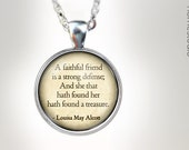Alcott (Friend) : Glass Dome Necklace, Pendant or Keychain Key Ring. Gift Present metal round art photo jewelry HomeStudio. Silver Bronze