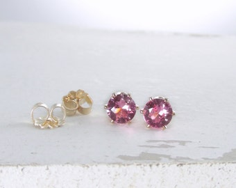 Gold Pink Tourmaline Earrings Small Gold Stud Earrings October Birthstone Earrings Pink Stud Earrings Gold Earrings Holiday Gift For Her