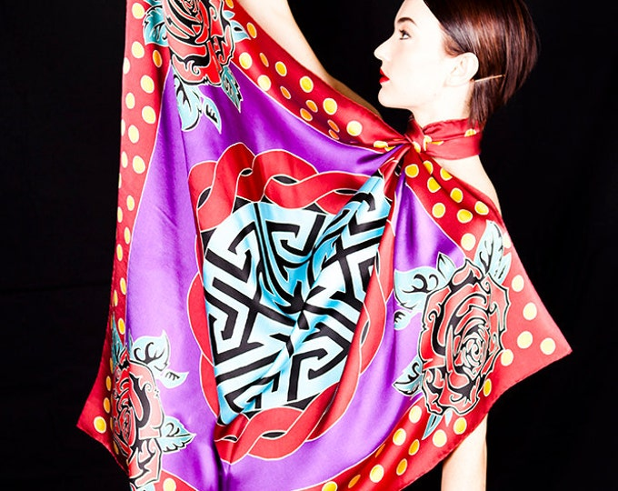 Handpainted Silk scarf, Mandala scarf, rose scarf, polka dot scarf, Purple scarf, sacred geometry clothing, flamenco scarf, Unique gift idea