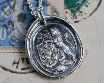 lion wax seal necklace pendant - lion holding armorial shield - courage, strength, alertness - silver antique armorial wax seal jewelry