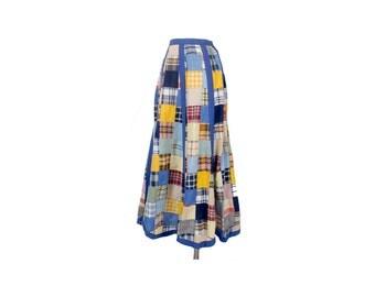 Vintage 70s Maxi Skirt - 70s Skirt- Madras - Madras Skirt - Madras Patchwork - Patchwork Maxi Skirt - Patchwork Madras Skirt - Small - Plaid