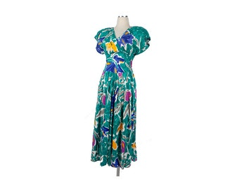 Vintage 80s Dress - 80s Dress - 80s Floral Dress - Secretary Dress - Spring Dress - Full Skirt Dress - Green Blue Yellow - Abstract Floral S