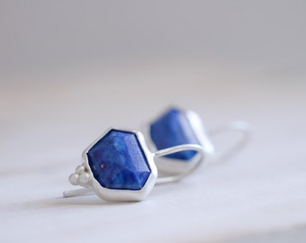 Lapis Lazuli earrings. Sterling silver earrings with natural Lapis lazuli. Lapis lazuli dangles, Lapis earrings, faceted Lapis dangles.