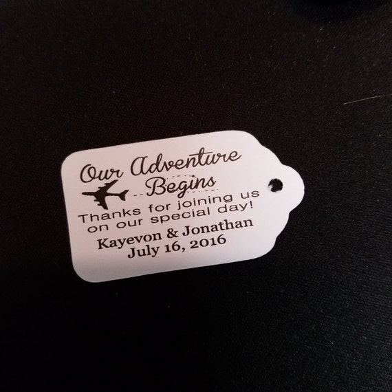 "Our Adventure Begins Thanks for Joining us Choose your quantity SMALL 2"" Favor Tag"