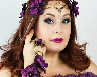 Flower Crown in Gold and Purple, Wedding Headpiece, Wedding Accessory,Wedding Wreath, Floral Crown, Fairy, Renaissance, Costume, Burning Man