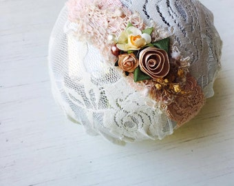 Autumn Brush - Blush Pink Cream Peach Lace Headband -  Vintage - Flowers - Girls Newborns Baby Infant Adults