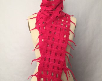 Red Pink Felted Scarf Royal Fiber Art SALE OOAK - Grid Collection