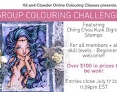 KC Coloring Contest Special Price『Floating Pearls』 Digital Stamps Instant Download / Pearl Fantasy Mermaid Fairy Girl Art by Ching-Chou Kuik