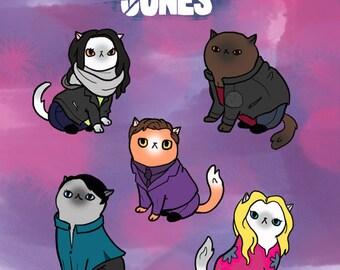 Jessica Jones Cats 8x10in. print