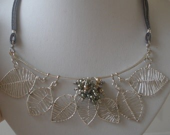 Wire wrapped leaf necklace-flower necklace-turquoise bib-spring necklace- easter-trendy-silver necklace-leaves and flowers-silver wire