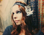 White Violets Headdress - Art Deco/Nouveau ATS Tribal Fusion or Ritual