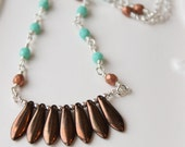 Fringe Necklace / Copper Bronze and Turquoise / Glass Dagger Beads /  Bohemian Necklace / Boho Chic Jewelry /  Bohemian Style / Silver
