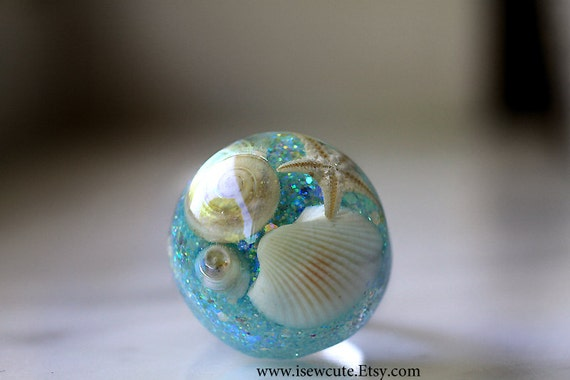 Seashell Ring Nautical Beach Jewelry for Her, Aqua Blue Ring, Handcrafted Unique Resin Sea Shell Mermaid Ring, Beach Jewelry by isewcute