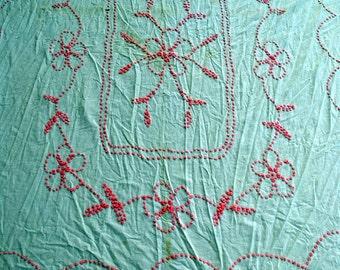 Handmade Pink Chenille Cutter Bedspread
