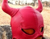 Red Leather Half Mask with Devil Horns