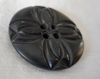 VINTAGE Carved X or Cross Flower Black Thick Sew Thru BUTTON