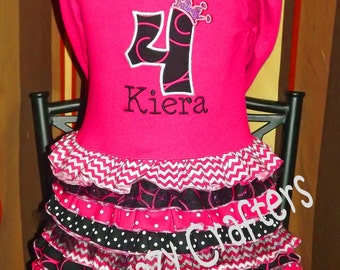 Custom Birthday Ruffle T-Shirt Dress, Crown, Number, Princess, Personalized