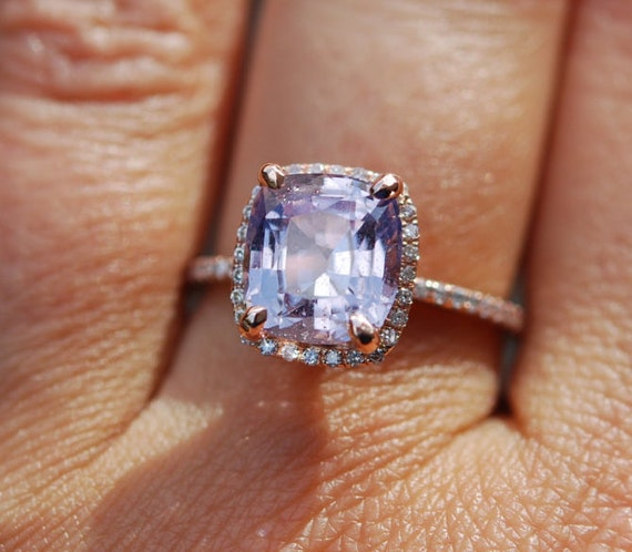 Lavender sapphire ring 3.5ct unheated sapphire halo diamond ring 14k rose gold engagement ring