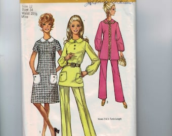 1970s Vintage Sewing Pattern Simplicity 9082 Misses A Line Dress Tunic with Collar and Pants Size 12 Bust 34 1970s