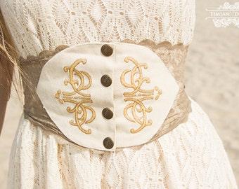 CORSET BELT - Organic High waisted waist Hippie Boho Bohemian Tribal Dress Romantic Gypsy Goa Wedding Bride - Off white Cream Ivory