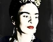 Frida Kahlo Poster Instant Digital Download Dot Style Print Mixed Media Modern Home Decor Distressed Black White Red Blue Daguerreotype