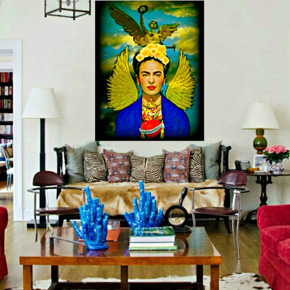 Frida Kahlo Angel of Independence Instant Digital Download Art Print Original Small to Poster Collage Modern Home Decor Mexico City Statue