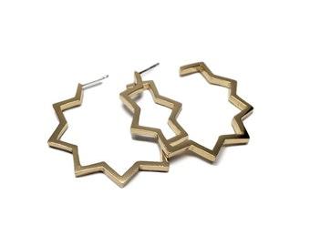 Gold Geometric Hoop Earrings   Zig Zag Hoop   Gold Hoop Earrings by Sarah Cecelia