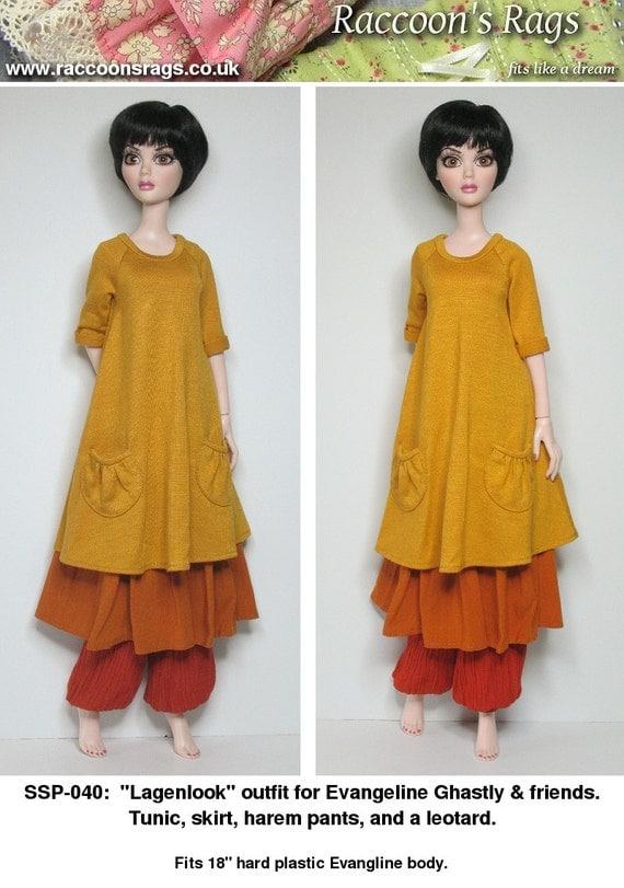 "STRAIGHTFORWARD SEWING Pattern SSP-040: ""Lagenlook"" for Evangeline Ghastly & friends. Harem pants, skirt, tunic and leotard."