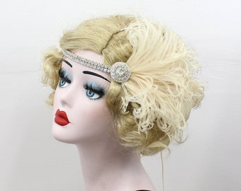 Cream Ivory and Silver Headband - Great Gatsby Headpiece - Feather Fascinator - 1920s Flapper - Bridal Hair Accessory - Halloween Costume