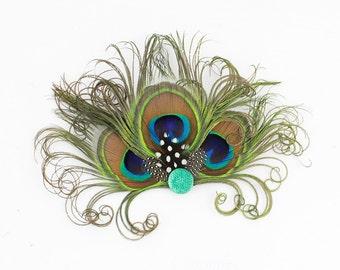 Silver Crystal Headpiece -Feather Hair Clip - Peacock Fascinator - Bridesmaids Hair Accessory -  Girls Dance Accessory - Halloween Costume