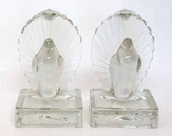 Pair of Vintage Pressed Glass Bird Bookends
