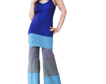ON SALE - Baby Blue Lounge Pants with Skirt-  Grey Green Blue Lavender, Handmade, Dance Pants, Patchwork Eco Clothing